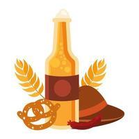 Oktoberfest cerveza botella, sombrero, pretzel y diseño vectorial de salchicha