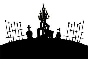 halloween house at cemetery vector design