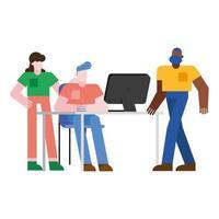 hombres y mujeres en el escritorio de oficina con diseño de vector de computadora