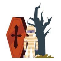 ataúd de dibujos animados de momia de halloween y diseño de vector de árbol desnudo
