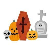 Calabazas de Halloween, tumba, calavera y diseño vectorial de ataúd