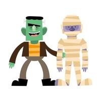 diseño de vector de dibujos animados de halloween frankenstein y momia