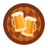 Vasos de cerveza oktoberfest en diseño vectorial de barril