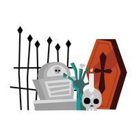 ataúd de halloween, tumba, mano de zombie y diseño de vector de cráneo