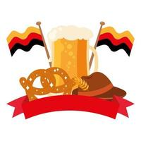 oktoberfest glass with pretzel and hat vector design
