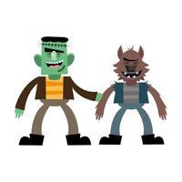 halloween frankenstein and werewolf cartoon vector design