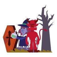 diseño de vector de dibujos animados de bruja y diablo de halloween