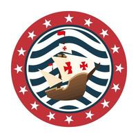 Christopher Columbus ship in seal stamp vector design