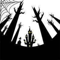 halloween house, grave and bare trees vector design