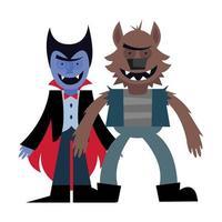 diseño de vector de dibujos animados de vampiro y hombre lobo de halloween