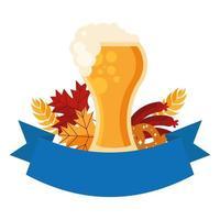 Oktoberfest cerveza vaso, pretzel y diseño vectorial de salchicha