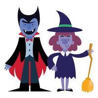diseño de vector de dibujos animados de halloween vampiro y bruja