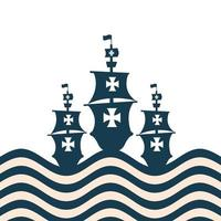 Christopher Columbus ships at the striped sea vector design