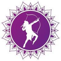 dussehra lord ram silueta blanca en diseño de vector de mandala púrpura