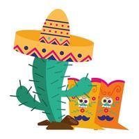 Cactus mexicano con sombrero y botas de diseño vectorial vector