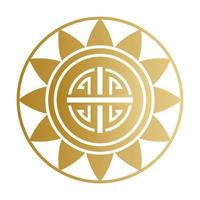 chinese symbol seal stamp gold vector design