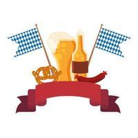 Oktoberfest cerveza vaso, botella, pretzel y diseño vectorial de salchicha
