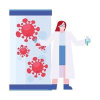 Investigación de la vacuna contra el virus covid 19 y mujer química con diseño vectorial de tubo