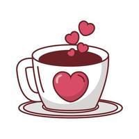 feliz dia de san valentin taza de cafe con corazones