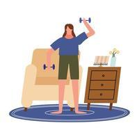 Mujer levantando pesas frente a una silla en casa diseño vectorial