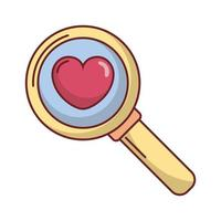 happy valentines day magnifying glass with heart vector