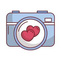 happy valentines day camera with heart vector