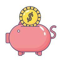 piggybank savings with coin flat style icon vector