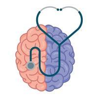 Cerebro humano con colores divididos y estetoscopio.
