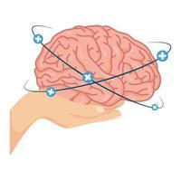 Mano levantando el cerebro humano con símbolos más