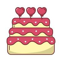 happy valentines day sweet cake with heart vector