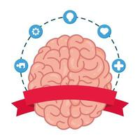 human brain with mental health care icons vector