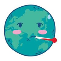 planet earth with thermometer