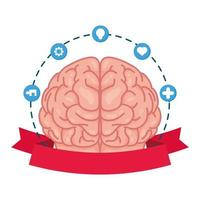 human brain with mental health care set icons vector