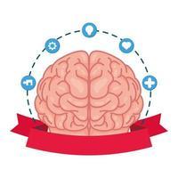 Cerebro humano con iconos de conjunto de atención de salud mental