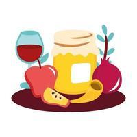 tarro de miel dulce con copa de fruta y vino