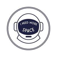insignia circular espacial con estilo de línea de casco de astronauta