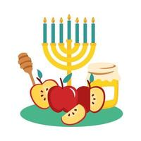 sweet honey pot with menorah and apples