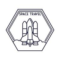 space hexagon badge with spaceship flying line style
