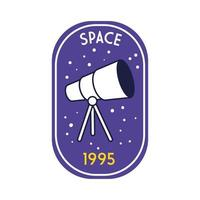 space badge with telescope line and fill style