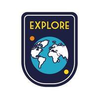insignia espacial con línea de planeta tierra y estilo de relleno