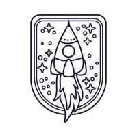 space badge with rocket line style