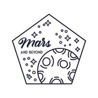 space pentagon badge with mars planet line style