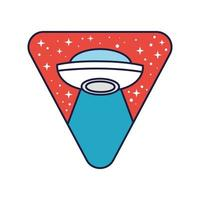 insignia triangular espacial con línea de vuelo ovni y estilo de relleno