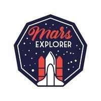 insignia espacial con nave espacial volando y marte explora la línea de letras y el estilo de relleno