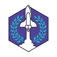 Insignia hexagonal espacial con línea de vuelo de nave espacial y estilo de relleno
