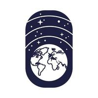 space badge with earth planet and stars line style