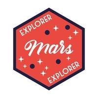 insignia espacial con línea de letras explorer marte y estilo de relleno