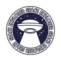 space badge with ufo flying and space explorer lettering line style