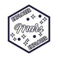 insignia espacial con estilo de línea de letras explorer marte