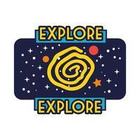 insignia espacial con línea de agujero negro y estilo de relleno